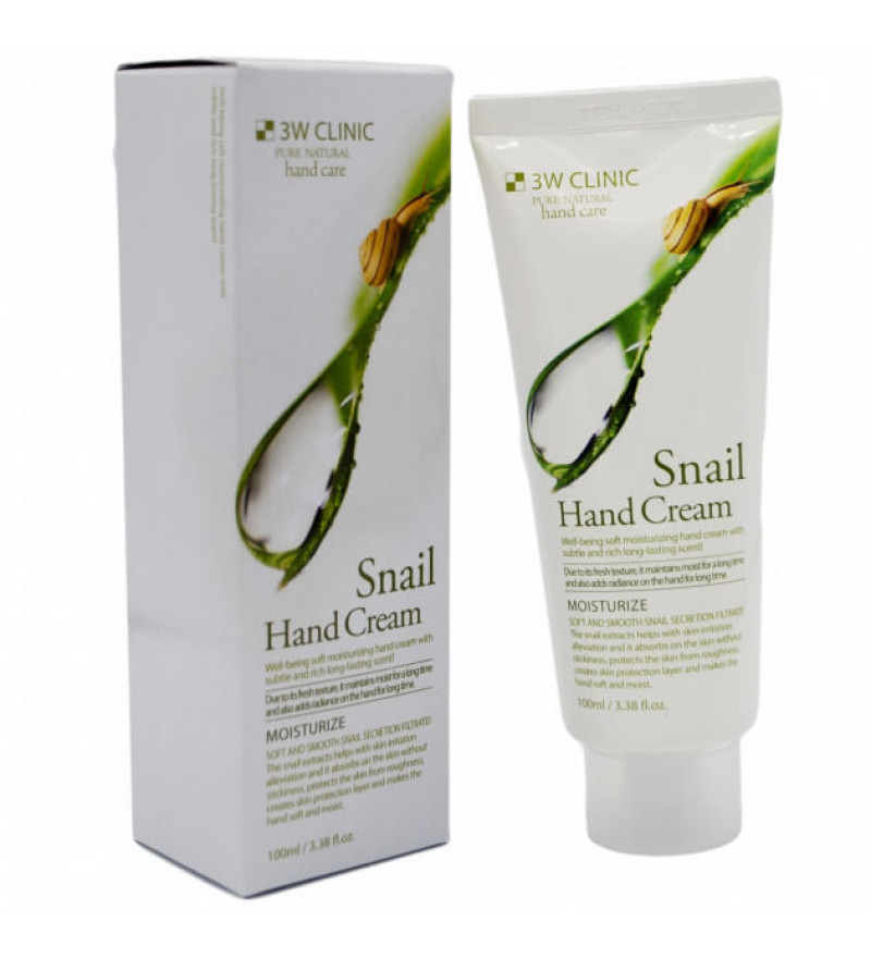 3W CLINIC Snail Hand Cream Крем для рук зволожуючий з муцином равлика, 100 мл