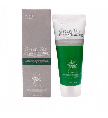 3W CLINIC Green Tea Foam Cleansing Пінка для вмивання з екстрактом зеленого чаю, 100 мл
